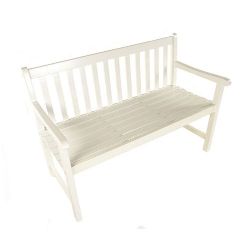 Painted Wooden Bistro Bench 129cm White