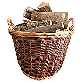 Premium Round Wicker Log Basket, Hessian lined with Handles - two tone colour