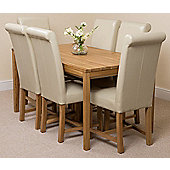 Bevel Solid Oak 150 cm with 6 Washington Leather Chairs (Ivory)