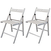 Harbour Housewares Wooden Folding Chairs - White Wood Colour - Pack of 2