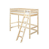 Flexa Classic High Bed with Slanting Ladder and Railing - Natural Lacquer