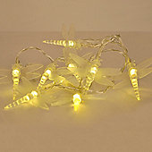 Pair of Battery Operated LED Dragonfly String Lights in Warm White
