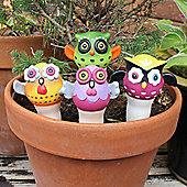 Set Of Four Terracotta Owl Watering Sticks For The Garden / Home