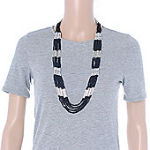 Multistrand Black & Silver Bead Necklace In Silver Tone Finish - 76cm Length/ 6cm Extension