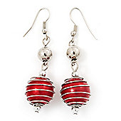 Silver Tone Bright Red Faux Pearl Drop Earrings - 5.5cm Drop