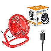 "Twitfish Plastic USB Desk Fan 4"" - Red"