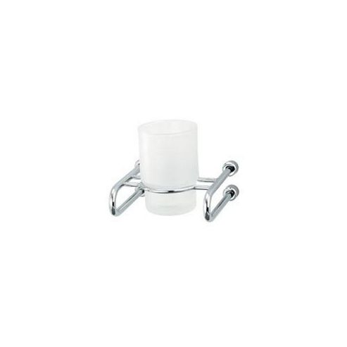 Triton Mercury Frosted Glass Tumbler and Holder