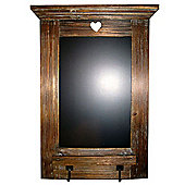Heart - Wooden Blackboard With 2 Hooks - Brown / Black