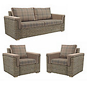 Desser Bath 3 Seater & 2 Chairs Set in Tartan Mocha