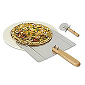 Pizza Grilling Stone and Peel with free Pizza Cutter for BBQ or oven