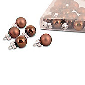 Set of 25 Mini Coloured Bauble Tree Decorations in Brown