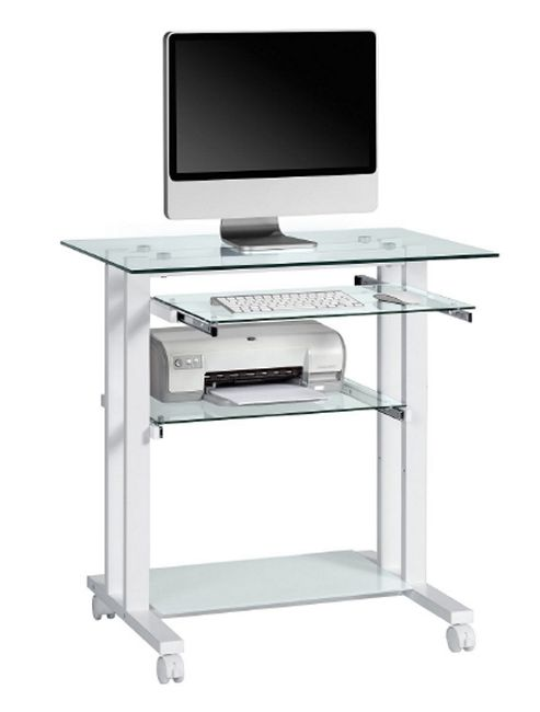 Maja Premium Glass Computer Desk with White Frame