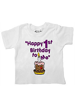 Dirty Fingers Happy 1st Birthday to Me Baby T-shirt - White