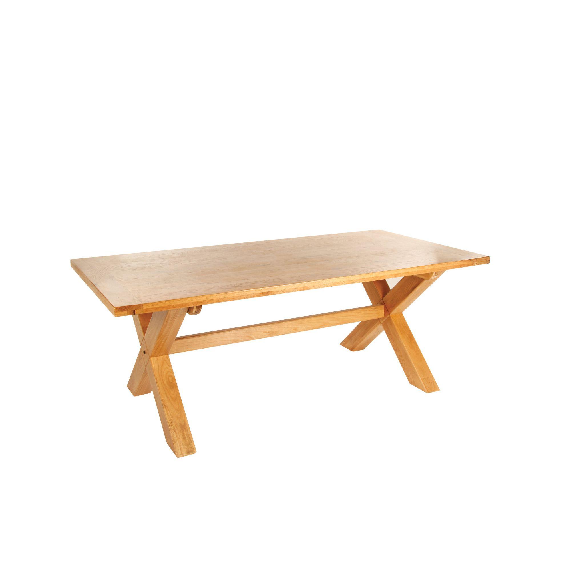 Hawkshead Calgary Fix Top Solid Oak Dining Table with Cross Leg