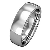 Jewelco London 18ct White Gold - 6mm Premium Bombe Court-Shaped Band Commitment / Wedding Ring - Size Z 1/2