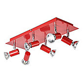 Consul 6 Way GU10 Ceiling Spotlight in Red and Chrome