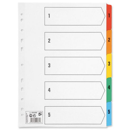 5 Star Index 230 micron Card with Coloured Mylar Tabs 1-5 A4 White