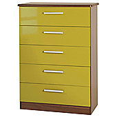 Welcome Furniture Knightsbridge 5 Drawer Chest - Oak - Olive