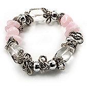 Silver Tone Link Semiprecious Stone & Bead Flex Bracelet (Pale PInk, Transparent & Metallic Silver)