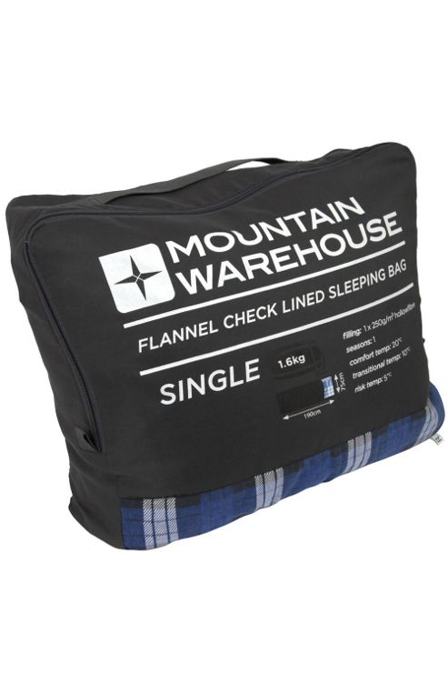 Single Season 1 - 2 Lightweight Sleeping Bag With Check Flannel Lining