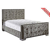 ValuFurniture Delaware Velvet Fabric Bed Frame - Silver - Small Double - 4ft