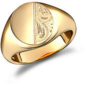 9ct Solid Gold polished Diamond cut oval shaped Signet Ring