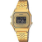 Casio Unisex Gold Ion-plated Alarm Day & Date LED Light Watch LA680WEGA-9BER