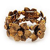Antique Gold Flower Diamante Flex Bracelet - Up to 19cm length