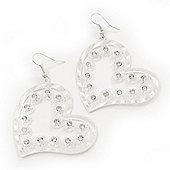 Silver Plated Open-Cut Diamante 'Heart' Drop Earrings - 6cm Length