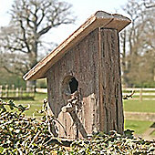 Rustic - Solid Wood + Bark Birdhouse - Brown