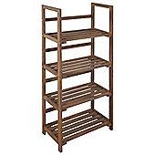 Spencer - Four Tier Storage Shelves / Display Unit-dark Wood Effect