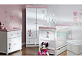 Obaby Minnie Mouse 5 Piece Double Room Set (With Sprung Mattress) - White with Pink Trim