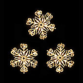 Pack of Three 30cm Warm White LED Snowflake Lights