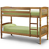 Happy Beds Lincoln 2ft6 Small Pine Two Sleeper Wood Bunk Bed 2x Spring Mattresses
