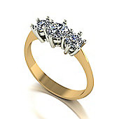 18ct Gold 3 Stone Moissanite Ring