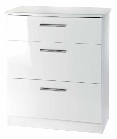 Welcome Furniture Knightsbridge 3 Drawer Deep Chest - White - White