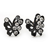 Tiny Black Crystal Enamel 'Butterfly' Stud Earrings In Silver Tone Metal - 10mm Diameter