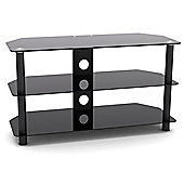 "VonHaus Black Glass TV Stand for TVs up to 42"" with 3 Shelves & Cable Management System"