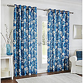 Silhouette Floral Eyelet Curtain Teal 66x72