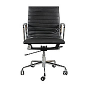 EA117  Low Back Ribbed Black Leather Office Chair