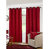 KLiving Manhattan Plain Panama Unlined Eyelet Curtain 65 x 54 Red