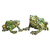 Set Of Two Mosaic Coloured Resin Frog Garden Ornaments