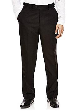 F&F Black Herringbone Flexi-Waist Regular Fit Trousers - Black