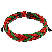 Urban Male Surfer Style Real Leather Cord Green & Red Bracelet For Men