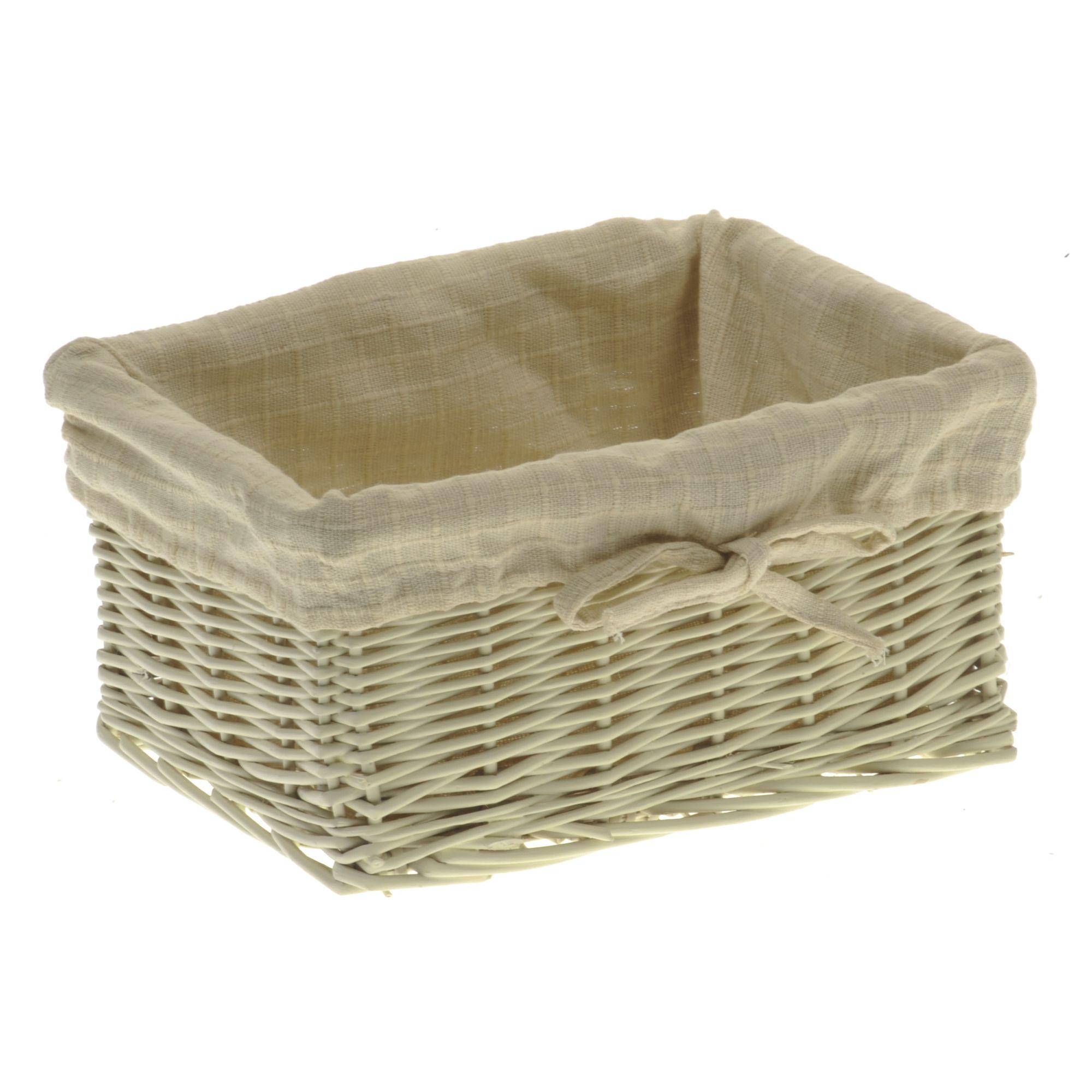 Wicker Valley Storage Basket with Cream Lining - Medium
