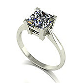 18ct White Gold 7.0mm Sqaure Brilliant Moissanite Single Stone Ring