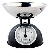 Black Retro Kitchen Scale with Stainless Steel Bowl