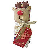 Bizzi Growin Knitted Blanket Gift Set With Reindeer Rattle