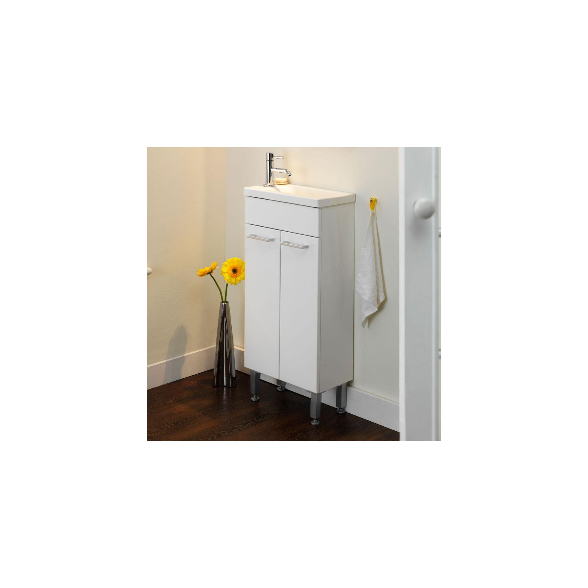 Duchy Trevail White Floor Standing 2 Door Vanity Unit and Basin - 390mm Wide x 425mm Deep