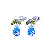 QP Jewellers Peridot & Blue Topaz Petite Galanthus Stud Earrings in 14K White Gold